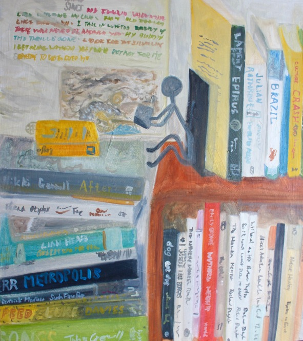 bookshelf with Chetbaker LP lighter