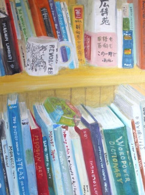 Bookshelf with Revolver mug
