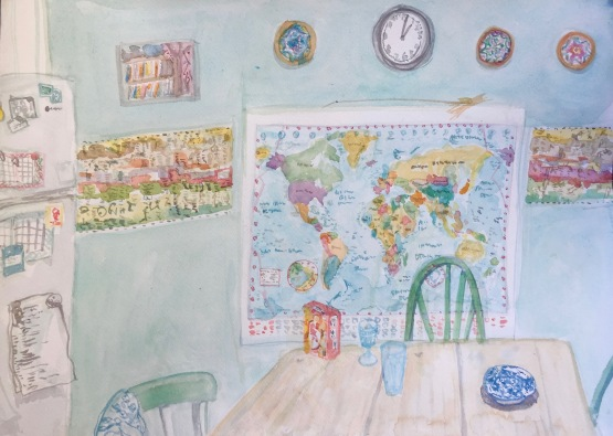 Kitchen with worldmap